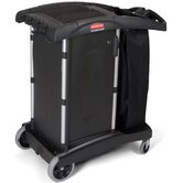 Compact Turndown Housekeeping Cart in Black