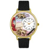 Unisex Stock Broker Black Skin Leather and Goldtone Watch in Gold