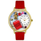 Unisex English Teacher Red Leather and Goldtone Watch in Gold