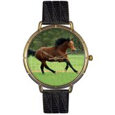 Unisex Holsteiner Horse Photo Watch with Black Leather
