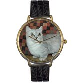 Unisex Munchkin Cat Photo Watch with Black Leather