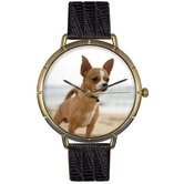 Unisex Chihuahua Photo Watch with Black Leather