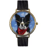 Unisex Border Collie Photo Watch with Black Leather