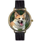 Unisex Corgi Photo Watch with Black Leather