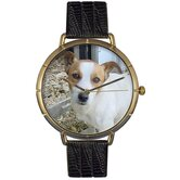 Unisex Jack Russel Photo Watch with Black Leather