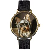 Unisex Yorkie Photo Watch with Black Leather