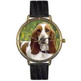Unisex Bassett Hound Photo Watch with Black Leather