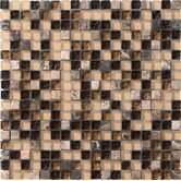 "Crystal Stone 12"" x 12"" Glass/Stone Mosaic in Coffee"