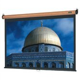 Mahogany Veneer Model B Manual Screen with High Power Fabric - 84&quot; x 84&quot; AV Format