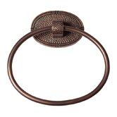 Hammered Copper Towel Ring with Oval Backplate
