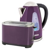 Kettle and Toaster Set in Plum Steel
