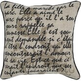 Beige and Black Printed Vintage Decorative Pillow