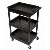 "Three Tub Shelf Utility Cart with 12"" Shelf Clearance"