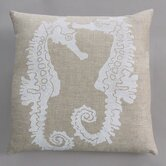 Seahorse White Pillow on Natural Linen