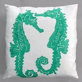 Seahorse Turquoise Pillow on White Linen