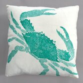 Big Crab Turquoise Pillow on White Linen