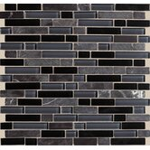 "Legacy Glass 5/8"" x Random Linear Glass & Stone Mosaic Tile in Mountain Blend"