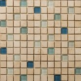 "Natural Stone 1"" x 1"" Travertine Ancient Tumbled Glass Blend Mosaic in Anima Beige"