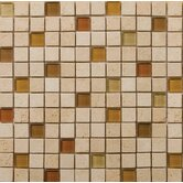 "Natural Stone 1"" x 1"" Travertine Ancient Tumbled Glass Blend Mosaic in Mazia Beige"