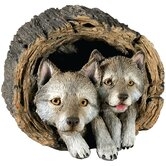 Forever Friends Wolf Pups Sculpture in Gray