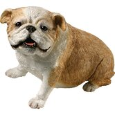 Original Size Sitting Bulldog Sculpture in Fawn
