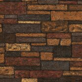 Textures, Techniques and Finishes Stone Wall Wallpaper in Autumn Earthy Tone
