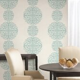 Salon Medallion Stripe Wallpaper in Aquamarine Blue