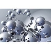 Ideal Decor Silver Orbs Small Wall Mural