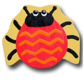 Lady Bug Drawer Knob in Red / Yellow Back