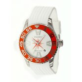 H2O Lady Ladies Watch with White Band and Orange Bezel