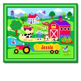 Country Farm Personalized Print with Green Frame