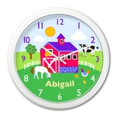 Country Farm Personalized Clock with White Case