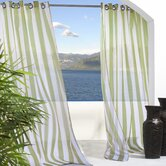 Outdoor Décor Escape Outdoor Sheer Stripe Grommet Top Curtain Panel in Green