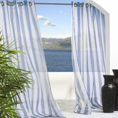 Outdoor Décor Escape Outdoor Sheer Stripe Grommet Top Curtain Panel in Blue