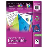 Worksaver Big Tab Multicolor Plastic Dividers with Double Slash Pockets