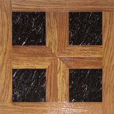 Paramount 16&quot; x 16&quot; Vinyl Woodtone / Black Marble Tiles (Set of 6)