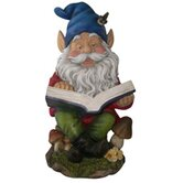 Gnome Reading Book Statue