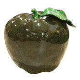 Ceramic Apple Ornament in Dark Green
