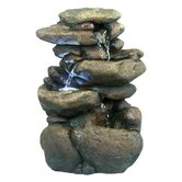 "11"" 3 Tier Rock Fountain with LED Lights"