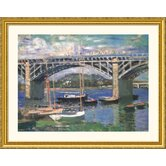 Railway Bridge, Near Argenteuil Gold Framed Print - Claude Monet