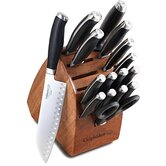 Contemporary Cutlery 17 Pieces Knife Block Set