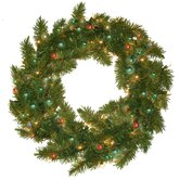 Prelit Evergreen Fir Wreath with 100 Multi Indoor/Outdoor Lights