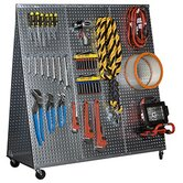 48&quot; x 20&quot; &quot;A&quot; Frame Metal Pegboard WOW Tool Cart with Wheels