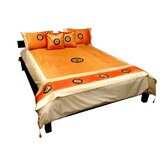 6 Piece Thai Silk Medallion Duvet Set in Amber