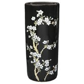 "18"" Flower Blossom Umbrella Stand in Shiny Black"