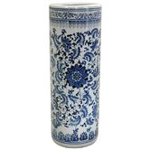 Umbrella Stand with Blue Floral Design in White