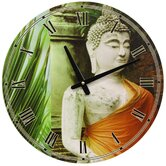 Buddha Round Wall Clock in Orange Drape