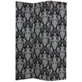 Damask Fabric Room Divider in Black