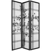 "72"" Double Crossed Bamboo Tree Room Divider in Black"
