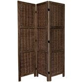 6 Feet Tall Bamboo Matchstick Woven Room Divider in Burnt Brown